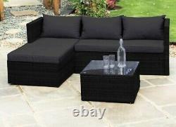Rattan garden furniture corner sofa set available in grey, cream or black
