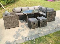 Right arm rattan corner sofa set dining table outdoor garden furniture grey