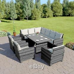 Round Rattan Dining Table Set Arm Chair Corner Sofa Garden Furniture Grey 9 Seat