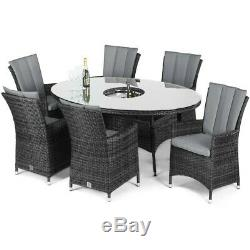 Seattle Rattan Garden Furniture 6 Seater Grey Oval Dining Set with Ice Bucket