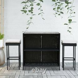 Set of 3 Rattan Furniture Garden Table Chairs Sofa Outdoor Conservator Patio NEW
