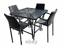 St Regis 5pc Rattan Glass Table and Bar Stool Set Outdoor Garden Patio Furniture