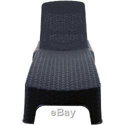 Sun Lounger Outdoor Garden Patio Relaxer Grey Rattan Reclining Bed Furniture NEW
