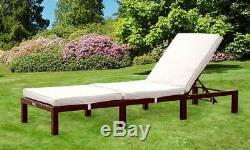 Sun Lounger Rattan Day Bed Recliner Chair Outdoor Garden Furniture Patio Terrace