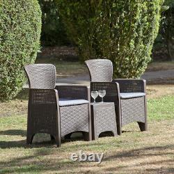 Suntime Roma Balcony Bistro 3pc Set Plastic Rattan Garden Furniture withCushions