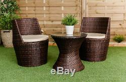Verona 3 Pc Rattan Garden Patio Furniture Vase Set Table & 2 Chairs Stackable