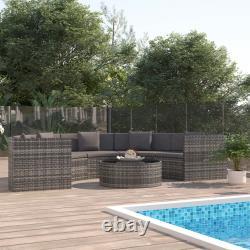 VidaXL 6 Piece Garden Lounge Set with Cushions Poly Rattan Grey Outdoor Sofa