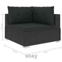 VidaXL 6x Garden Lounge Set with Cushions Poly Rattan Black Outdoor Sofa Sets