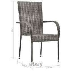 VidaXL 6x Stackable Outdoor Chairs Grey Poly Rattan Patio Garden Dining Seat