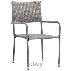 VidaXL 9 Piece Outdoor Dining Set Poly Rattan Grey Garden Table and Chair