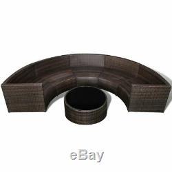 VidaXL Garden Half-round Sofa Outdoor Furniture Set Poly Rattan Brown/Black