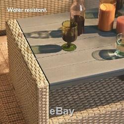 VonHaus 6 Seater Rattan Garden Furniture Set Weather Proof Grey