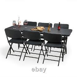 VonHaus Rattan Effect Dining Set Folding Table Chairs Outdoor Garden Furniture