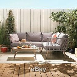 VonHaus Rope Style Rattan Corner Set Garden Patio Modern Outdoor Furniture