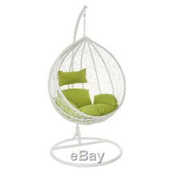 White Hanging Swinging Egg Chair Garden Rattan Furniture Outdoor Seat Wido