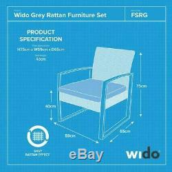 Wido 4 PIECE GREY GARDEN PATIO RATTAN CHAIR/SOFA OUTDOOR FURNITURE CONSERVATORY