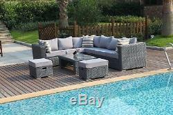Yakoe 8 Seater Rattan Corner Sofa Set Conservatory Patio Garden Furniture Grey