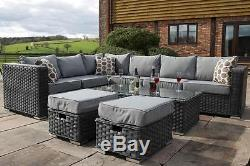 Yakoe Conservatory MODULAR 8 Seater Rattan Corner Sofa Set Garden Furniture Grey