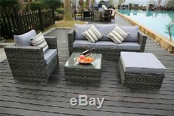 Yakoe Rattan Garden Furniture 5 Seater Corner Sofa Set Outdoors Grey+ Rain cover