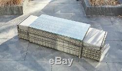 Yakoe Rattan Garden Furniture 9 Seater Corner Sofa Set Outdoors Grey With Stool