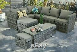 Yakoe Rattan Garden Furniture 9 Seater Corner Sofa Set Outdoors With Stools